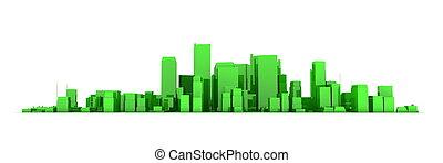 Wide Cityscape Model 3D - Shiny Green City White Background