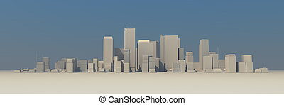 Wide Cityscape Model 3D - Slightly Foggy with Shadow