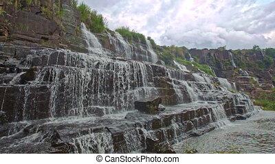 Wide Close View of Waterfall Cascade Panagarh in Vietnam