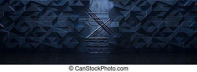 Wide Dark Futuristic Room Background (3d Illustration)