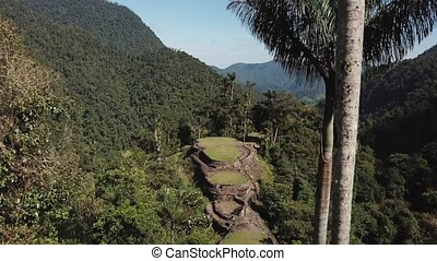 Wide drone view of the Lost City ancient site in Colombia,...