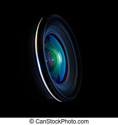 Close up image of a wide DSLR lens