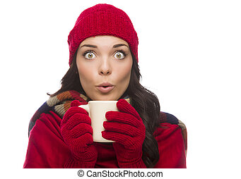 Wide Eyed Mixed Race Woman Wearing Winter Gloves Holds Mug -...