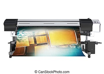 Wide Format Printing Concept. Solvent Grand Format Printer...