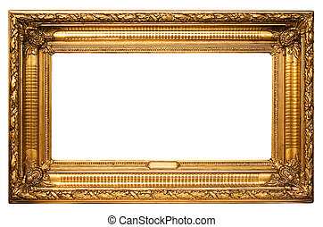 Wide Golden Frame - Antique golden picture frame with...