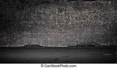 Wide grunge vintage background, gray version