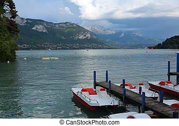 Wide lake called Lac du Annecy in France