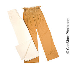 Wide leg pants isolated on white background. Clipping path...