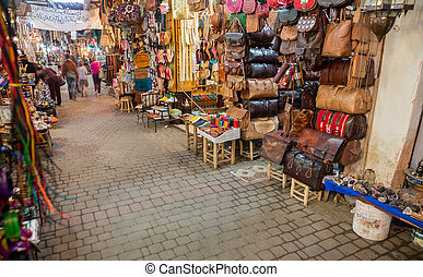 Wide angle view of Fes medina with many shoppings