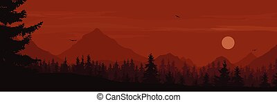 wide mountain landscape with forest and flying birds under the morning or evening sky with clouds and rising sun or moon -  suitable for outdoor advertising