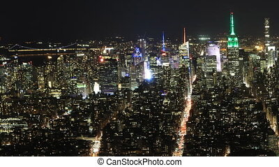 Wide night timelapse of Manhattan