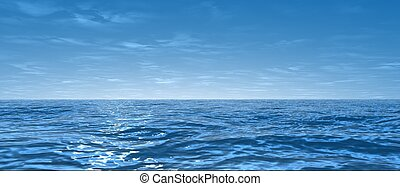 wide ocean - 3d rendered illustration of the blue sea