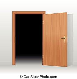 Wide open door to a dark unlit room. Vector illustration.