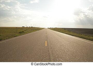 Wide Open road - Wide open road in Wyoming. Shot in late...