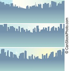 Wide panorama city skyscrapers silhouettes skyline vector illustrations set. Perfect minimal backgrounds with copy space for text.