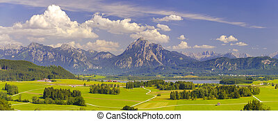 wide panorama landscape in Bavaria - wide panorama landscape...