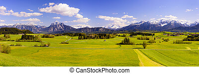 panorama landscape in Bavaria - wide panorama landscape in...