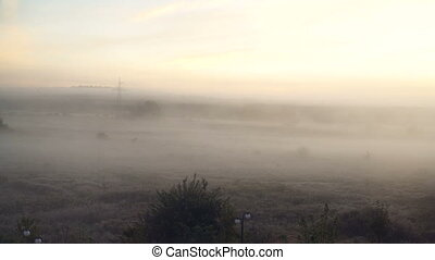 Wide panorama of beautiful foggy meadow. Dense fog over dry...