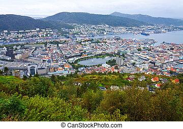 Wide panorama of Bergen, Norway - Wide panorama of Bergen,...