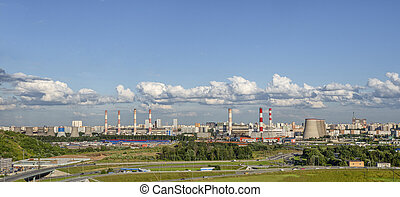 Wide panorama of the industrial district of Moscow. Russia.