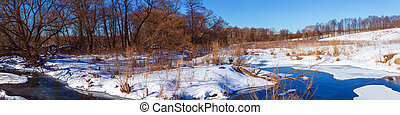 Wide Panorama Winter Landscape with Forest and River