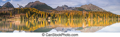 WIde panoramic image of Strbskie Pleso Lake in autumn, Slovakia
