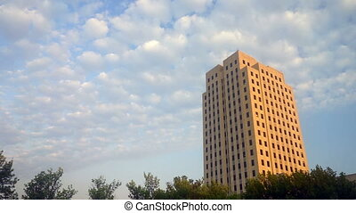 Wide Panoramic North Dakota Capital Building Bismarck Clouds...