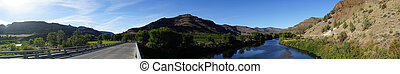 Wide Panoramic View John Day River Oregon Highway Bridge