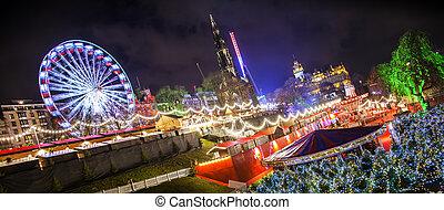 Wide panoramic view of Edinburgh's Christmas market