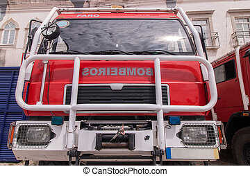 Wide perspective view of a fire truck parked in Faro city, Portugal.