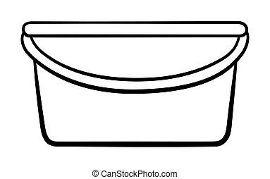 Wide plastic bucket for cleaning in black lines on white backgound