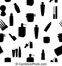 Wide range of cosmetic jars seamless pattern vector...