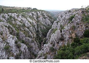 Wide ravine near Drnish castle in Croatia