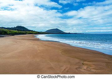 Wide Sandy Beach - Wide sandy beach on Santiago Island in...