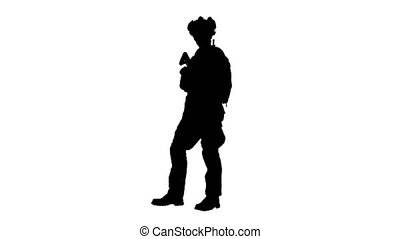 Wide screen. Side view. United states Marine Standing And Talking, Alpha Channel Professional shot in 4K resolution. 048. You can use it e.g. in your medical, commercial video, business, presentation, broadcast