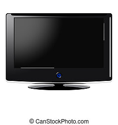 Wide Screen TV - Illustration of a wide screen TV over white...