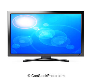 Wide screen tv isolated on white background. 3d rendering...