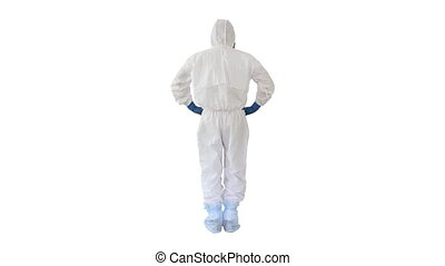 Wide shot. Back view. Man in a white decontamination suit putting hand on his head Bad situation on white background. Professional shot in 4K resolution. 53. You can use it e.g. in your medical, commercial video, business, presentation, broadcast