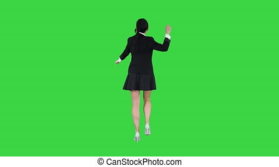 School girl dancing on a Green Screen, Chroma Key. - Wide...