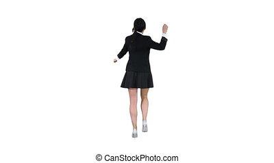 School girl dancing on white background.