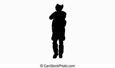 Wide shot. Back view. Silhouette Ranger in full combat uniform walking. Professional shot in 4K resolution. 4151. You can use it e.g. in your commercial video, business, presentation, broadcast