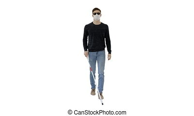 Wide shot. Blind man in face mask and in dark glasses with walking on white background. Professional shot in 4K resolution. 53. You can use it e.g. in your medical, commercial video, business, presentation, broadcast