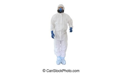 Doctor or scientist in hazard suit presenting something pointing imaginary objects on the sides on white background.