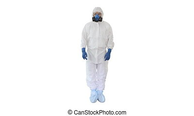 Wide shot. Doctor wearing hazard suit pointing with finger up wanting your attention on white background. Professional shot in 4K resolution. 53. You can use it e.g. in your medical, commercial video, business, presentation, broadcast
