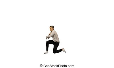 Excited office worker break dancing alone on white background.
