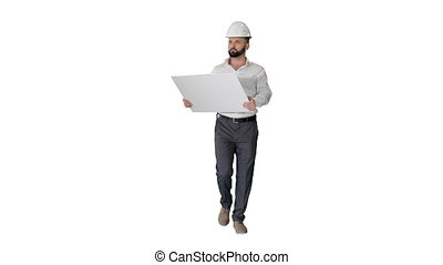 Wide shot. Front view. Confident young architect in white shirt and hardhat looking at blueprint while walking on white background. Professional shot in 4K resolution. 044. You can use it e.g. in your medical, commercial video, business, presentation, broadcast