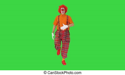 Wide shot. Front view. Funny clown walking like he is marching on a parade on a Green Screen, Chroma Key. Professional shot in 4K resolution. 061. You can use it e.g. in your medical, commercial video, business, presentation, broadcast