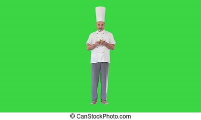 Wide shot. Front view. Restaurant Business Excited Chef Man Holding Money on a Green Screen, Chroma Key. Professional shot in 4K resolution. 059. You can use it e.g. in your medical, commercial video, business, presentation, broadcast