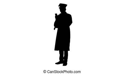 Silhouette Laughing male student in graduation gown and ...