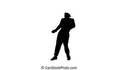 Wide shot. Front view. Silhouette Male mime artist performing pulling virtual rope. Professional shot in 4K resolution. 061. You can use it e.g. in your medical, commercial video, business, presentation, broadcast